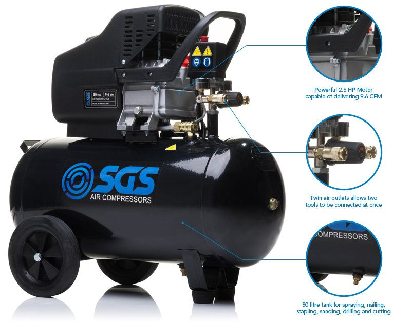 SGS 50 Litre Air Compressor & 5 Piece Tool Kit - 9.6 CFM, 2.5 HP