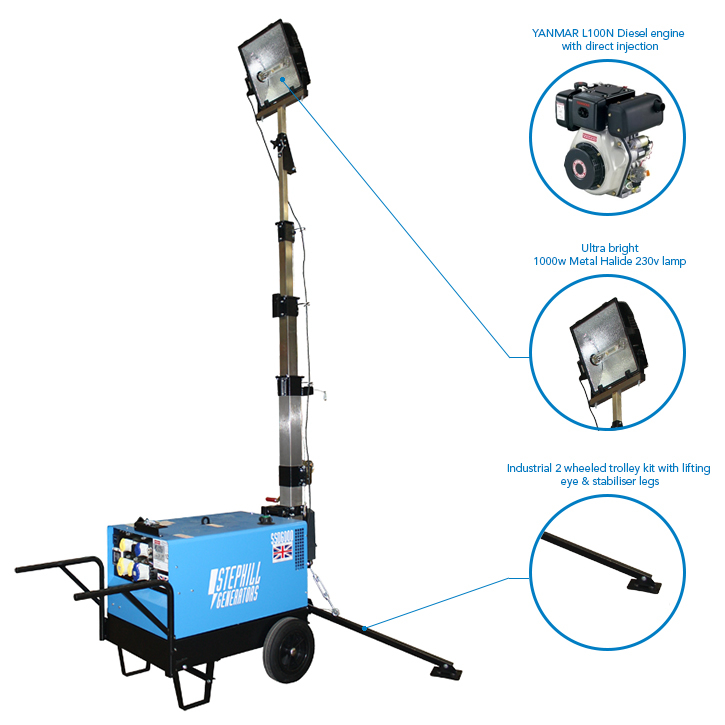 Light Tower Specifications: Stephill SLT6000D5 6.0 KVA Portable Lighting Tower