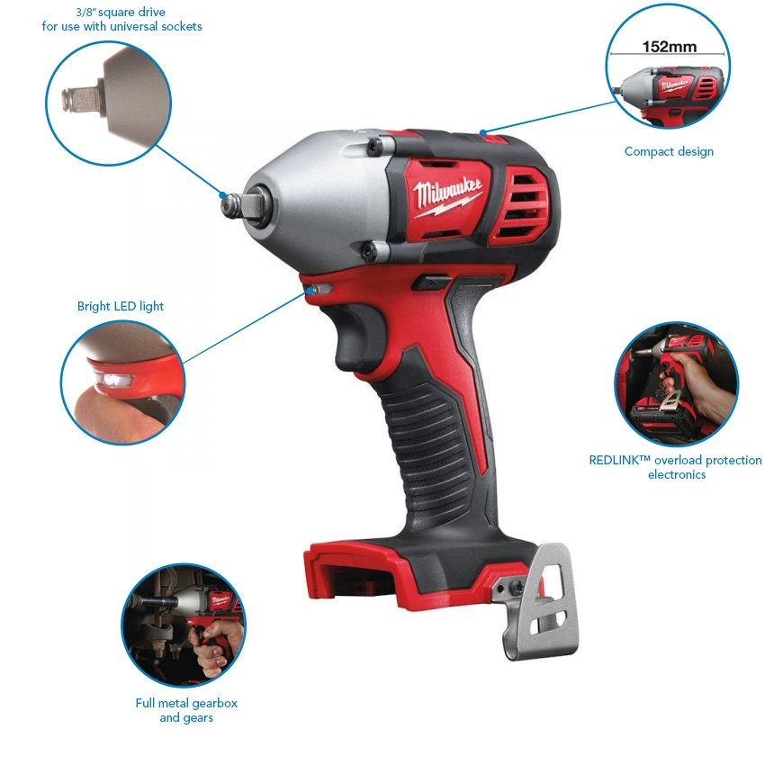 "Milwaukee M18BIW38-0 210Nm Compact 3/8"" Impact Wrench (Body only)"