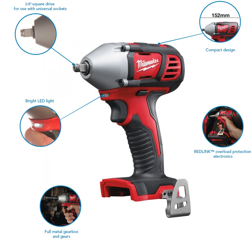 """Milwaukee M18BIW38-502B 210Nm Compact 3/8"""" Impact Wrench, 2x 5.0 Ah Batteries, Charger and Bag"""