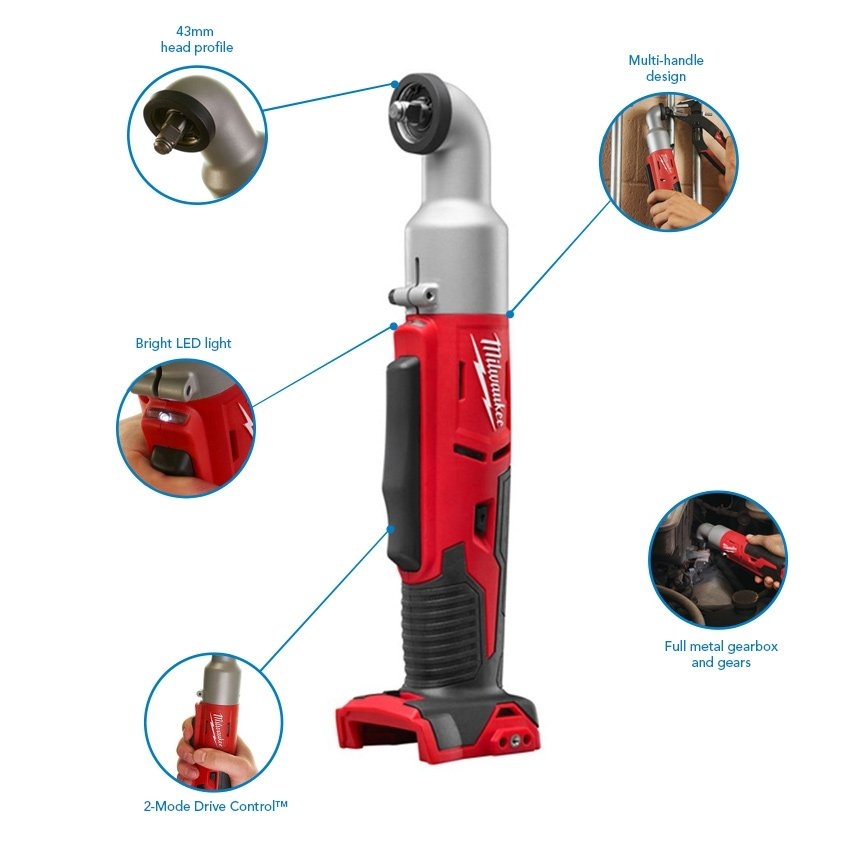 Milwaukee M18BRAIW-502B 18v Right Angle Impact Wrench, 2x 5.0 Ah Batteries, Charger and Bag