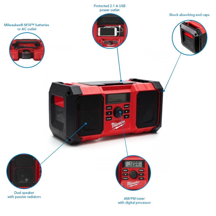 Milwaukee M18JSR-501B Jobsite AM/FM Radio with 5.0 Ah Battery, Charger and Bag