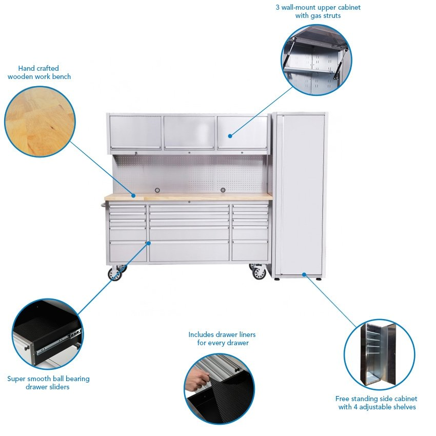 15 Drawer Stainless Steel Work Bench with 3 Upper Cabinets & Side Cabinet