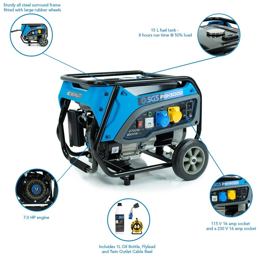 SGS 3.75 kVA Heavy Duty Portable Petrol Generator With Wheel Kit, Oil, Flylead and Twin Outlet Cable Reel