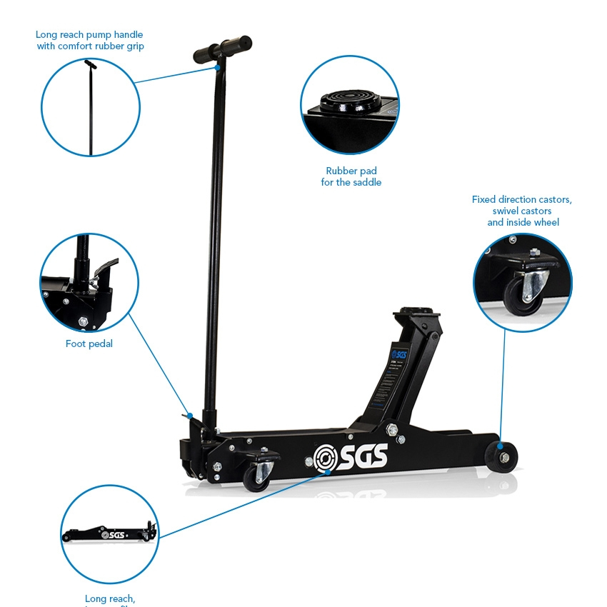 SGS 3 Ton Long Reach Service Trolley Jack with four 3 Ton Heavy Duty Axle Stands