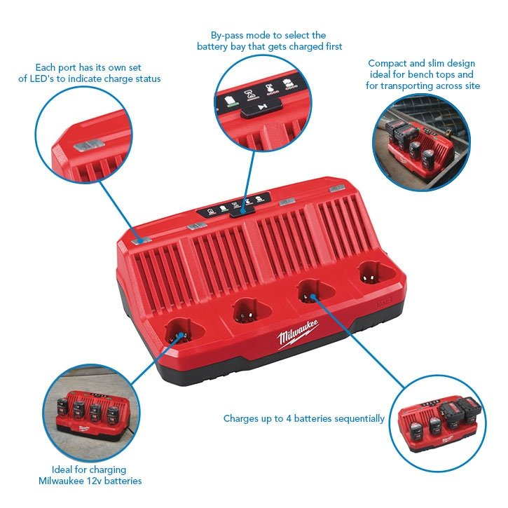 Milwaukee M12C4 12v 4 Bay Multi Charger