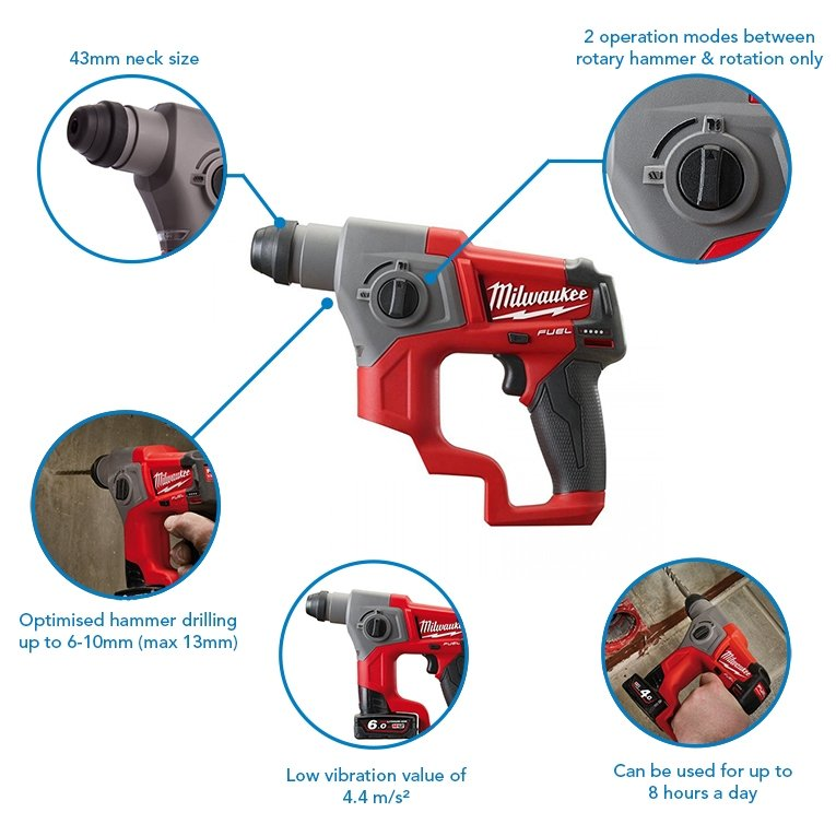 Milwaukee M12CH-602X Compact SDS Hammer Drill, x2 6.0Ah Batteries, Charger and Case