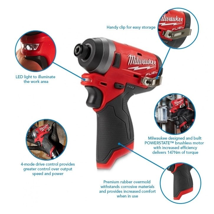 Milwaukee M12FID-602X M12 12v 147Nm 1/4 Fuel Impact Driver, x2 6Ah Batteries, Charger and Case