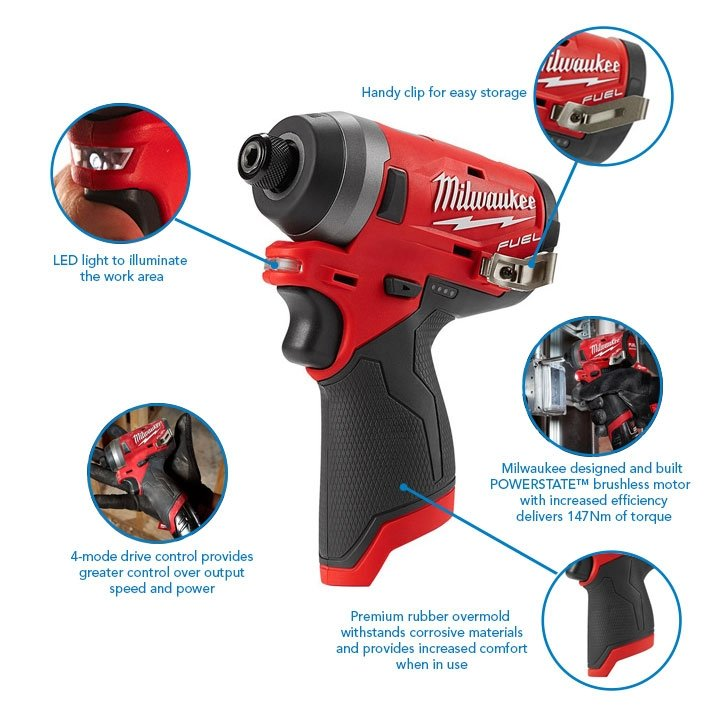 Milwaukee M12FID-X M12 12v 1/4 147Nm Fuel Impact Driver with Stackable Case