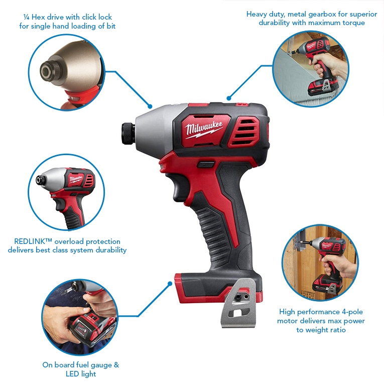 Milwaukee M18BID-0 18V 1/4 180Nm Impact Driver with FREE Case (Body Only)