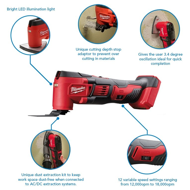 Milwaukee M18BMT-201B 18V Compact Multi-Tool with 2.0ah battery, charger & bag