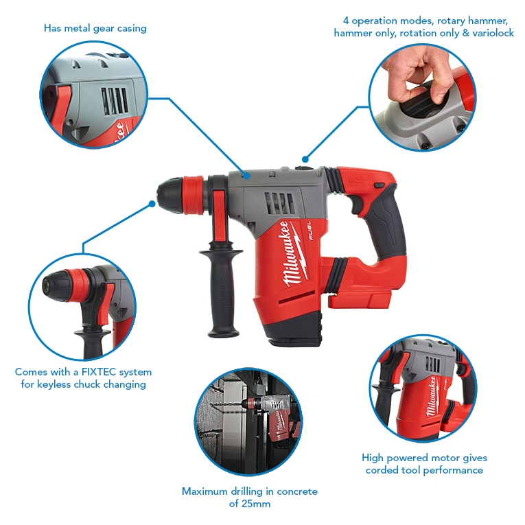 Milwaukee M18CHPX-502 SDS Plus Hammer Drill, x2 5.0Ah Batteries and Rapid Fast Charger Bundle
