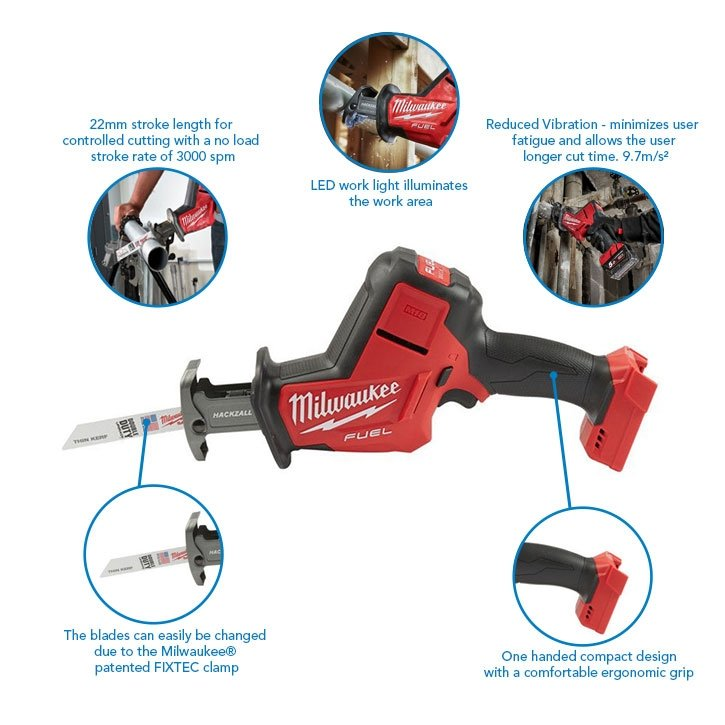 Milwaukee M18FHZ-0X M18 18v 22mm Fuel Hackzall with Case (Body Only)