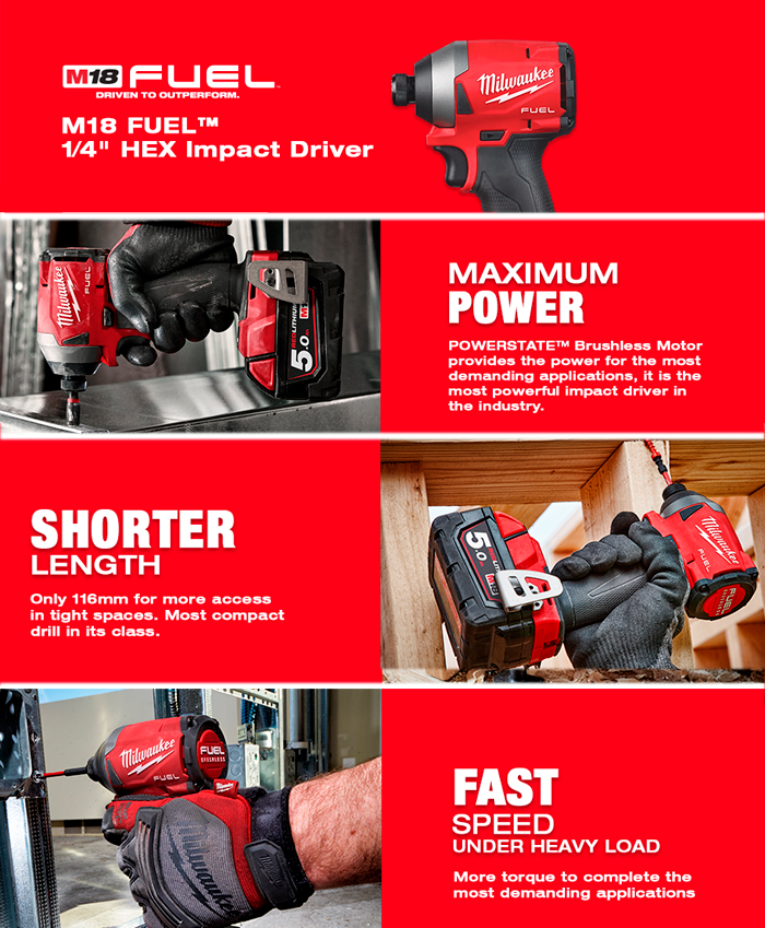 Milwaukee M18FID2-502X 18V Gen 3 Fuel Impact Driver With 2x 5.0Ah Batteries, Charger & Case
