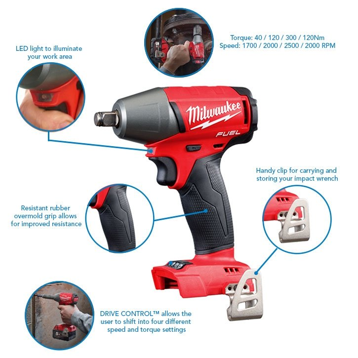 "Milwaukee M18FIWF12-502 18V 1/2"" 300Nm Impact Wrench with Friction Ring, x2 5.0Ah Batteries and Charger Bundle"