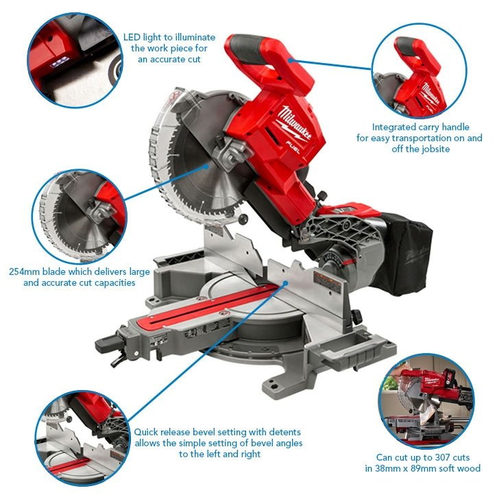 Milwaukee M18FMS254-0 18V 254mm 18V Fuel Mitre Saw (Body Only)