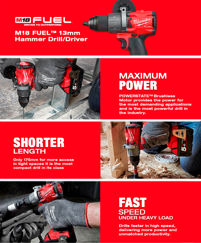 Milwaukee M18FPD2-502X 18V GEN3 Brushless Fuel Combi Drill, 2x 5.0Ah Battery, Charger & Case