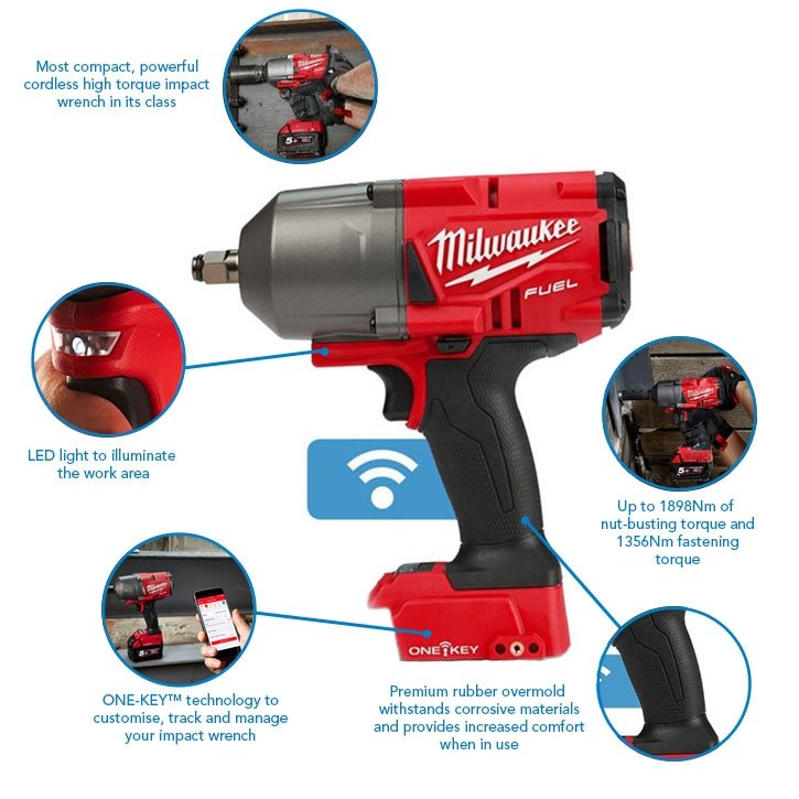 """Milwaukee M18ONEFHIWF12-502X 1/2"""" 1898Nm FUEL One Key Impact Wrench, x2 5.0Ah Batteries, Charger and Case"""