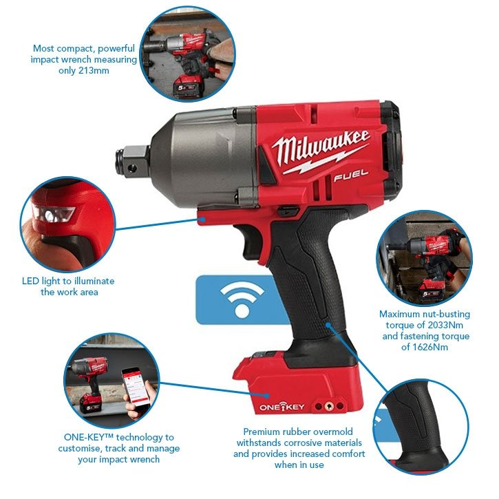"""Milwaukee M18ONEFHIWF34-0 FUEL 18v 2033Nm One Key 3/4"""" Impact Wrench (Body Only)"""