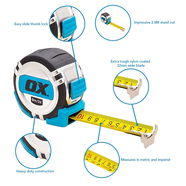 OX Tools OX-P028708 Pro Metric/Imperial 8m Tape Measure