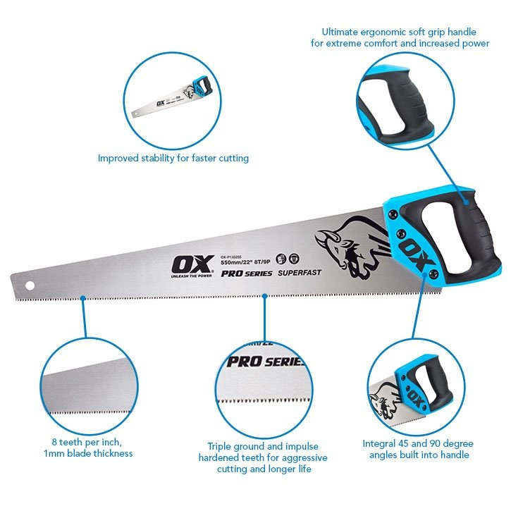 """OX Tools OX-P133255 Pro Hand Saw 550mm / 22"""""""