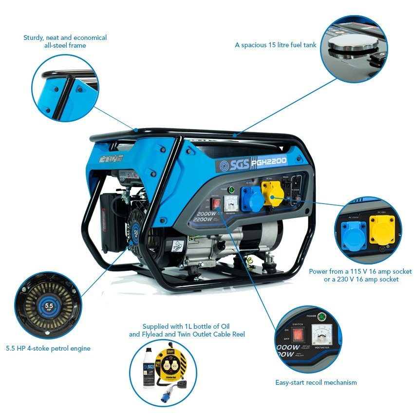 SGS 2.8 kVA Heavy Duty Portable Petrol Generator With Oil, Flylead and Twin Outlet Cable Reel