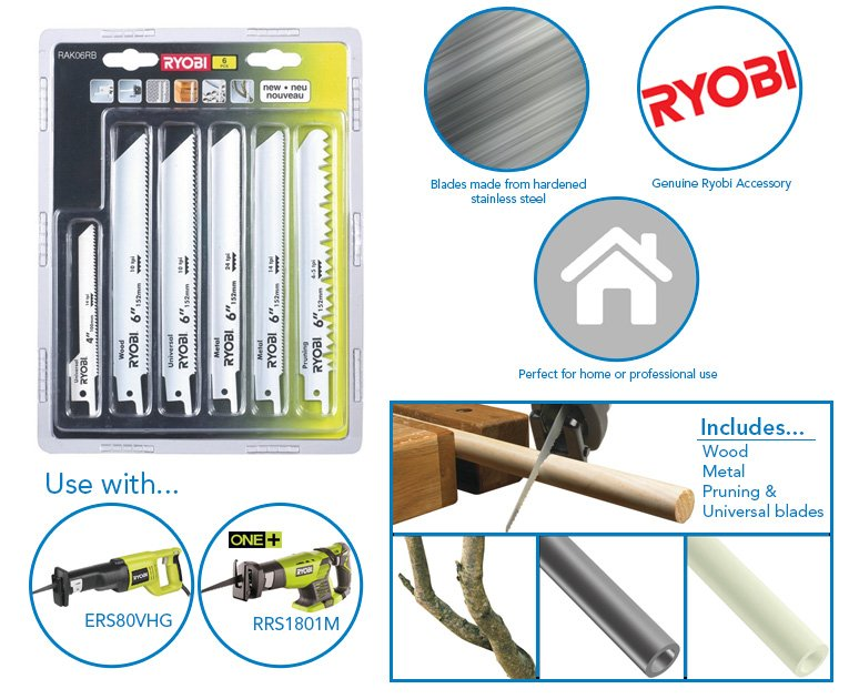 Ryobi rak06rb 6 piece reciprocating saw blade kit for rrs1801m product specifications greentooth Image collections