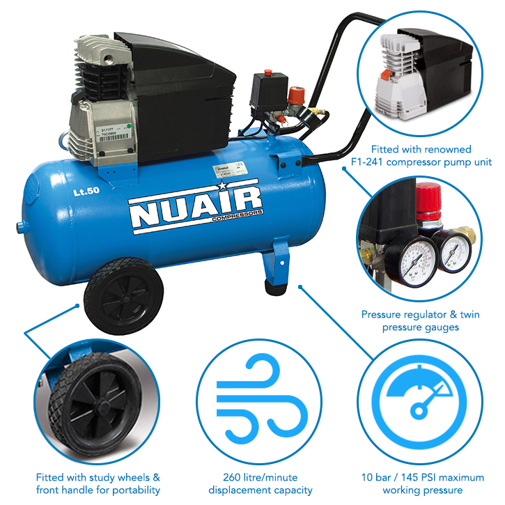 50 Litre Professional Nuair Direct Drive Air Compressor