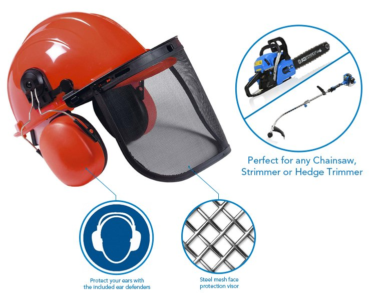 Chainsaw/Strimmer Safety Helmet with Ear Defenders
