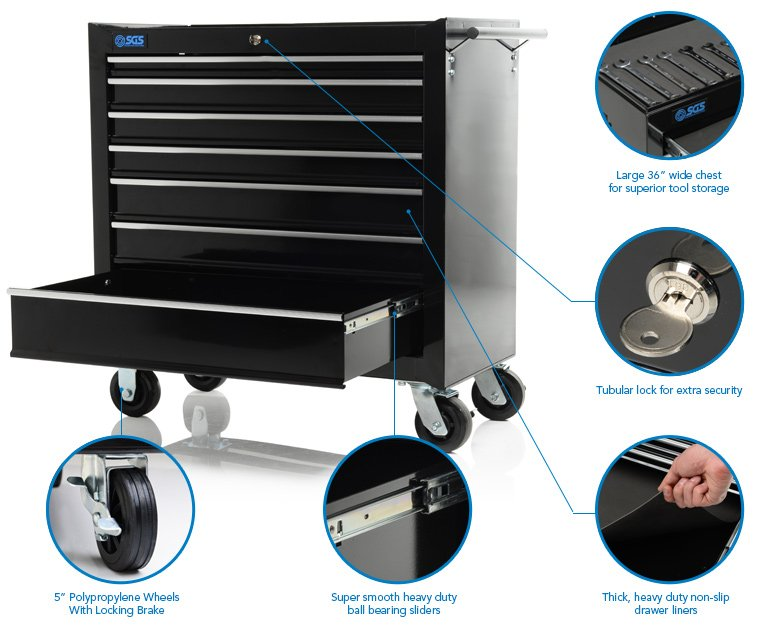 """36"""" Professional 7 Drawer Roller Tool Cabinet"""