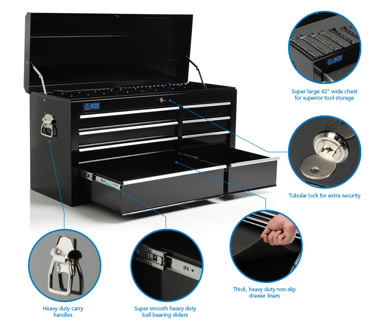 """SGS 42"""" Professional 8 Drawer Tool Box Chest"""