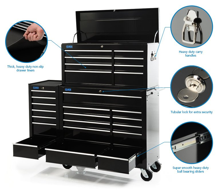 """58"""" Professional 26 Drawer Tool Chest, Cabinet & Side Locker"""