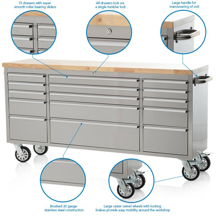 "72"" Stainless Steel 15 Drawer Work Bench Tool Chest Cabinet"