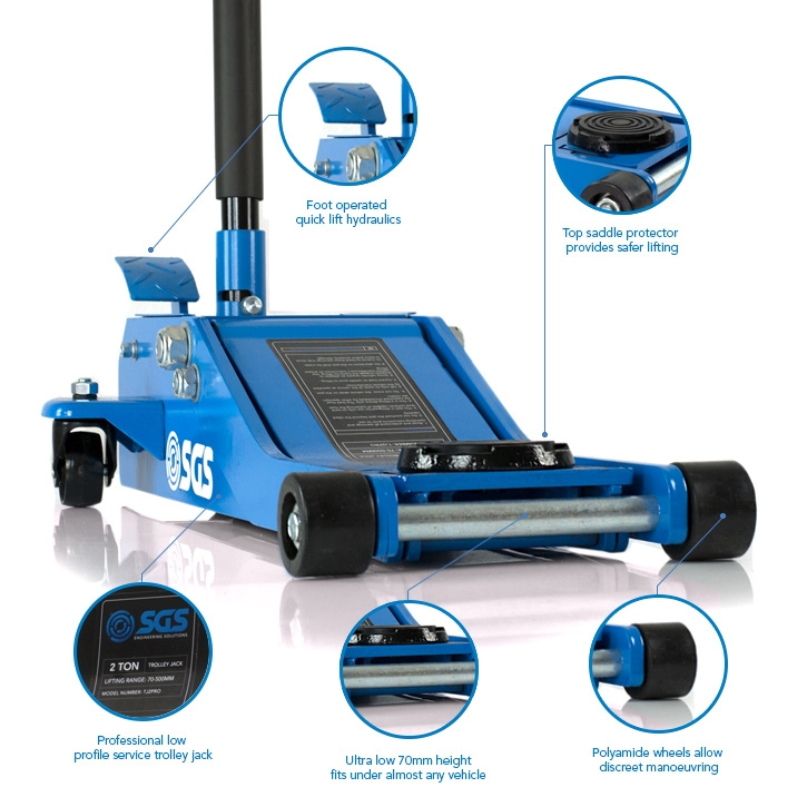 SGS 2 Ton Ultra Low Profile Professional Service Trolley Jack & 4 Ton Ratchet Axle Stands