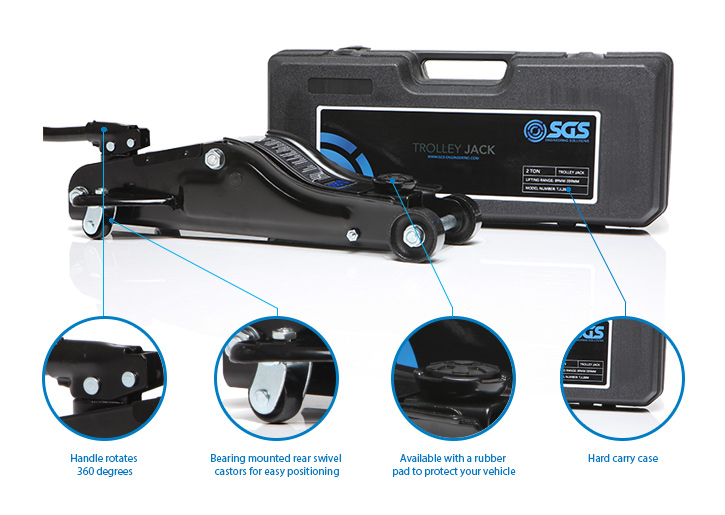 SGS 2 Ton Low Profile Trolley Jack, Case, Pad & Axle Stands