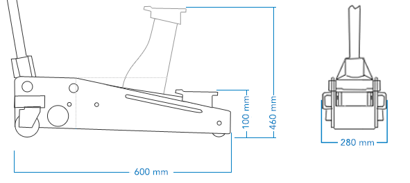 SGS 2.5 Ton Aluminium Racing Trolley Jack & Four Axle Stands