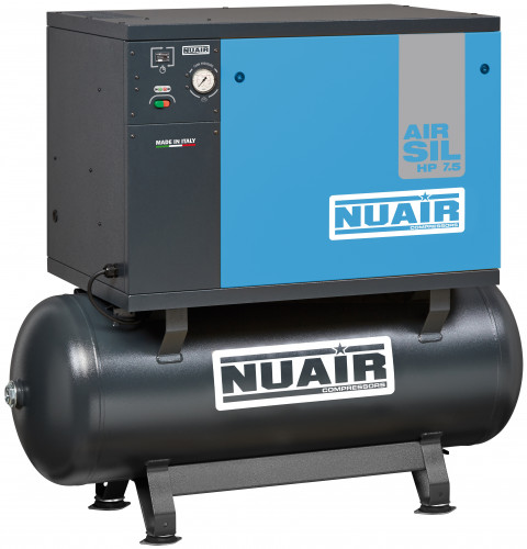 270 Litre Professional Nuair Silenced Belt Drive Air Compressor - 29.7 CFM, 7.5 HP