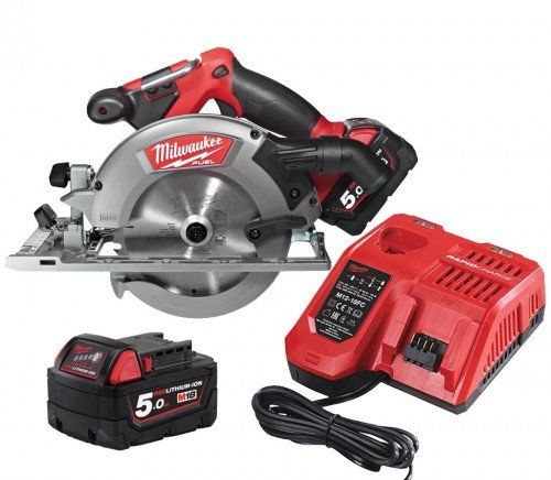 Milwaukee M18CCS55-502 18V 165mm Circular Saw, Blade, x2 5.0Ah Batteries and Rapid Fast Charger Bundle