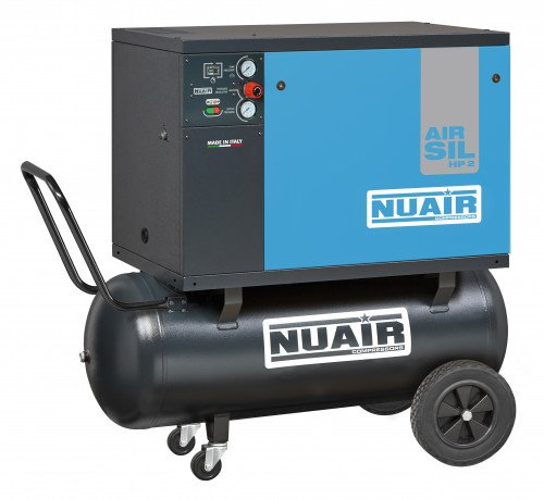 100 Litre Professional Nuair Silenced Portable Belt Drive Air Compressor - 11.6 CFM, 3 HP