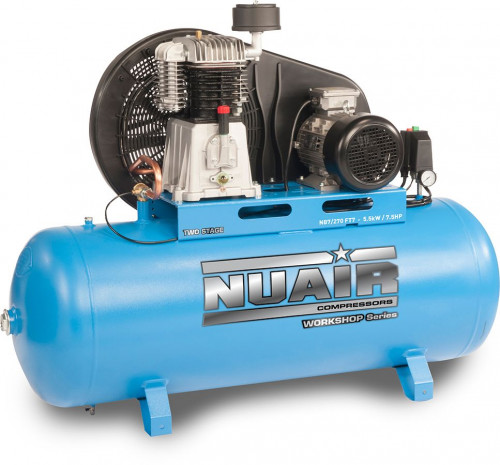270 Litre Pro Nuair Blue Star Two-Stage Belt Drive Air Compressor - 29.7 CFM, 7.5 HP, 3-Phase