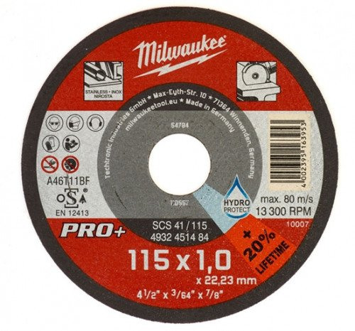 Milwaukee 4932451484 115mm x 1mm SCS41 PRO+ Thin Metal Cutting Disc