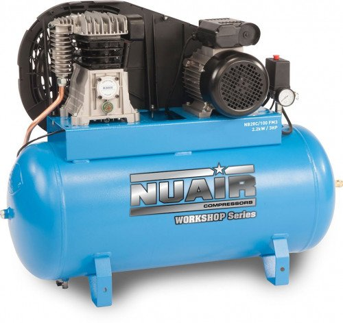100 Litre Professional Nuair Belt Drive Stationary Air Compressor - 12.5 CFM, 3 HP