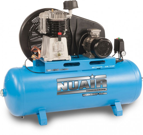 200 Litre Pro Nuair Blue Star Two-Stage Belt Drive Stationary Air Compressor - 24 CFM, 5.5 HP, 3-Phase