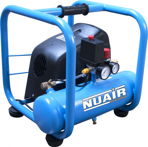 6 Litre Nuair Roll Cage Oil-Less Direct Drive Air Compressor - 7.1 CFM, 1.5 HP