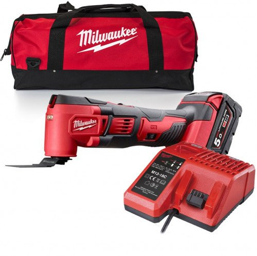 Milwaukee M18BMT-501B 18V Compact Multi-Tool, 5.0Ah Battery, Charger and Bag
