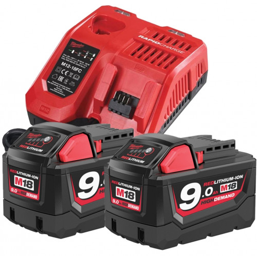 Milwaukee 2x 18V 9.0Ah Battery & Rapid Fast Charger Bundle