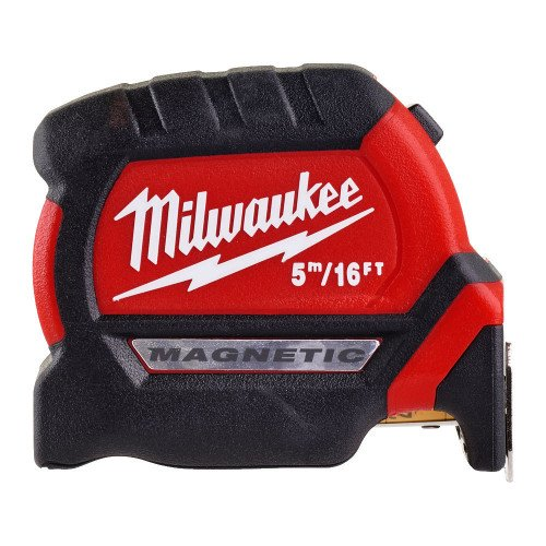Milwaukee 4932464602 5m/16ft Magnetic Tape Measure - Compact Design, 3.4 m Standout, 27mm Blade, Class 2 Accuracy