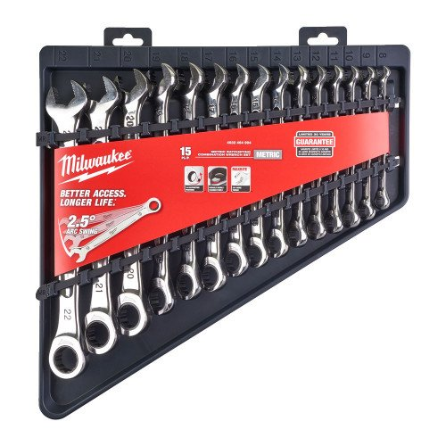 Milwaukee 4932464994 MAX BITE™ 15 pcs Ratcheting Combination Spanner Set