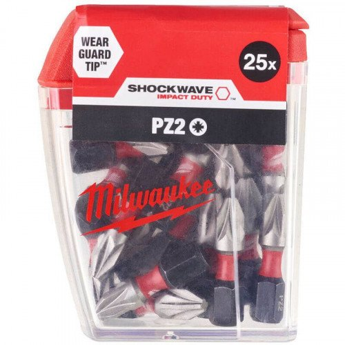 Milwaukee 25pc Shockwave™ Impact Duty PZ2 x 25mm Screwdriving Bit Set