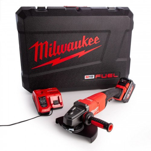 Milwaukee M18FLAG230XPDB-121C Large 228mm Angle Grinder Kit with 12.0Ah Battery, Charger and Case